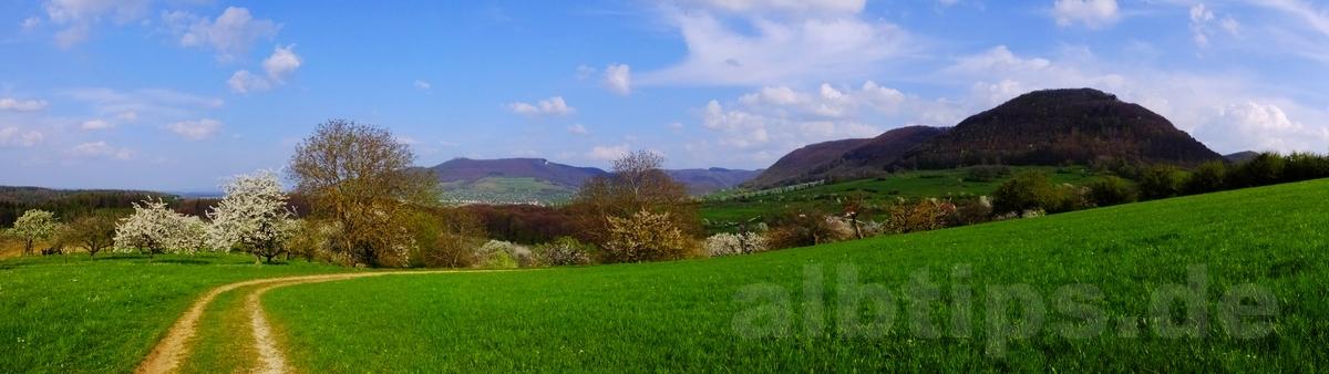 Panoramablick vom Engelberg zur Burg Teck und zur Baßgeige