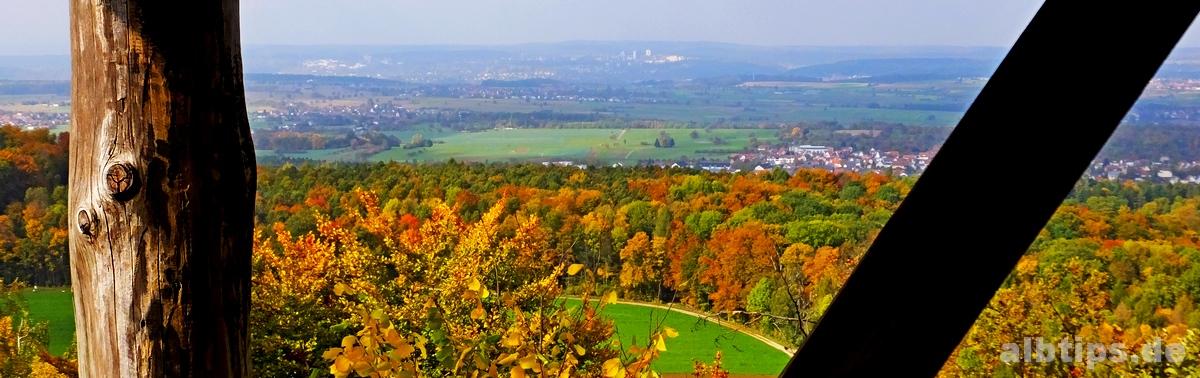 Blick vom Alteburg-Turm (Käpfle) Richtung Tübingen