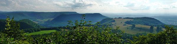 Blick vom Bolberg zum Meisenbühl, Farrenberg, Filsenberg und Hirschkopf